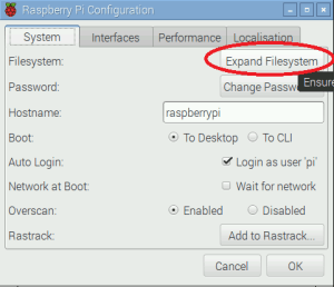 Raspberry Pi Expand File System