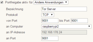 fritzbox port forwarding für tcp 9001