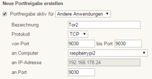 fritzbox port forwarding für tcp 9030