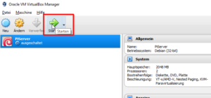 Oracle VM VirtualBox Manager - VM starten
